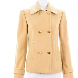 LILLY PULITZER TAN WOOL BLEND PEA COAT SIZE 6